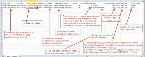 Подсказки по шаблону для импорта вукомерц