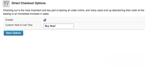 Admin WooCommerce Settings - Direct Checkout options