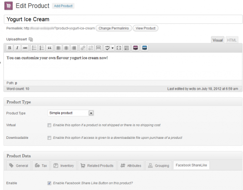 Screenshot Admin Product Enabled Option