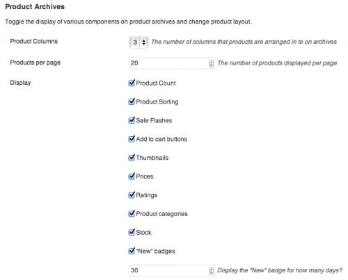 Настройки Product Archive Customiser